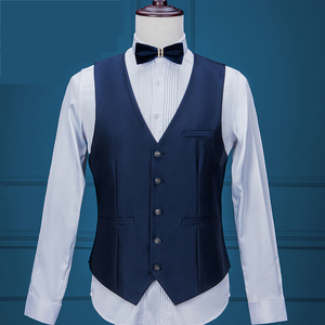 Image 4 - 2020 新紺メンズスーツ 3 個、正式なビジネスブレザータキシードショールラペルの結婚式の新郎の男 (ジャケット + ベスト + パンツ)