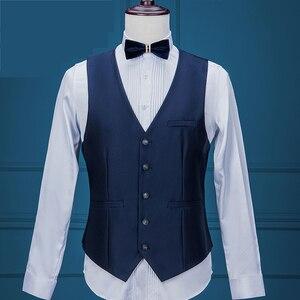 Image 4 - Costume daffaires formel pour hommes, veste + gilet + pantalon, 3 pièces, bleu marine, Tuxedos, châle pour marié, collection 2020