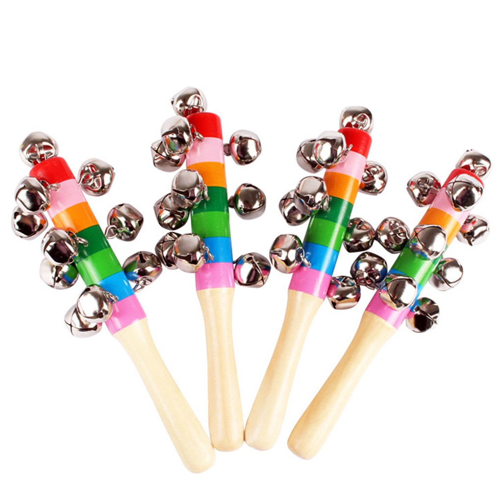 Colorful Rattle Toy Colorful Wooden Bell Orff Instruments Baby Rattles 10 Percussion String Of Bells Leisure Toys L0120