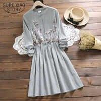 2019 nouveau décontracté Vintage dame robe à manches longues rayé Floral mi-longueur femmes robe été o-cou doux femmes vêtements 4864 50