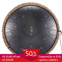 Huashu D Carbon Steel tongue drum Empty Lotus 15 notes 12.5 inchs tones Empty Percussion Instrument Professional drummer Handpan