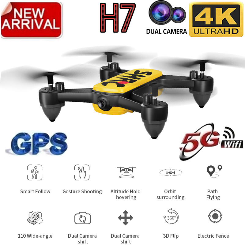 H7 GPS Drone with 4K HD Dual Camera Wide Angle Quadcopter Anti-shake WIFI FPV RC Drones Professional GPS smart Follow Me