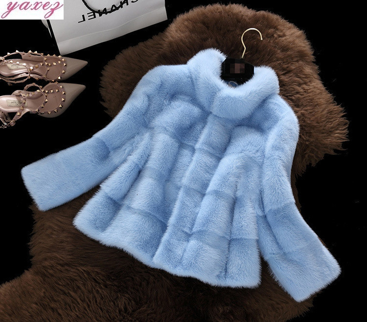 2019 Winter New Plus Size Faux Fur Jacket Imitation Mink Fur Coat Collar Mink Short Coat Women's Fur Coat Outerwear Overcoat