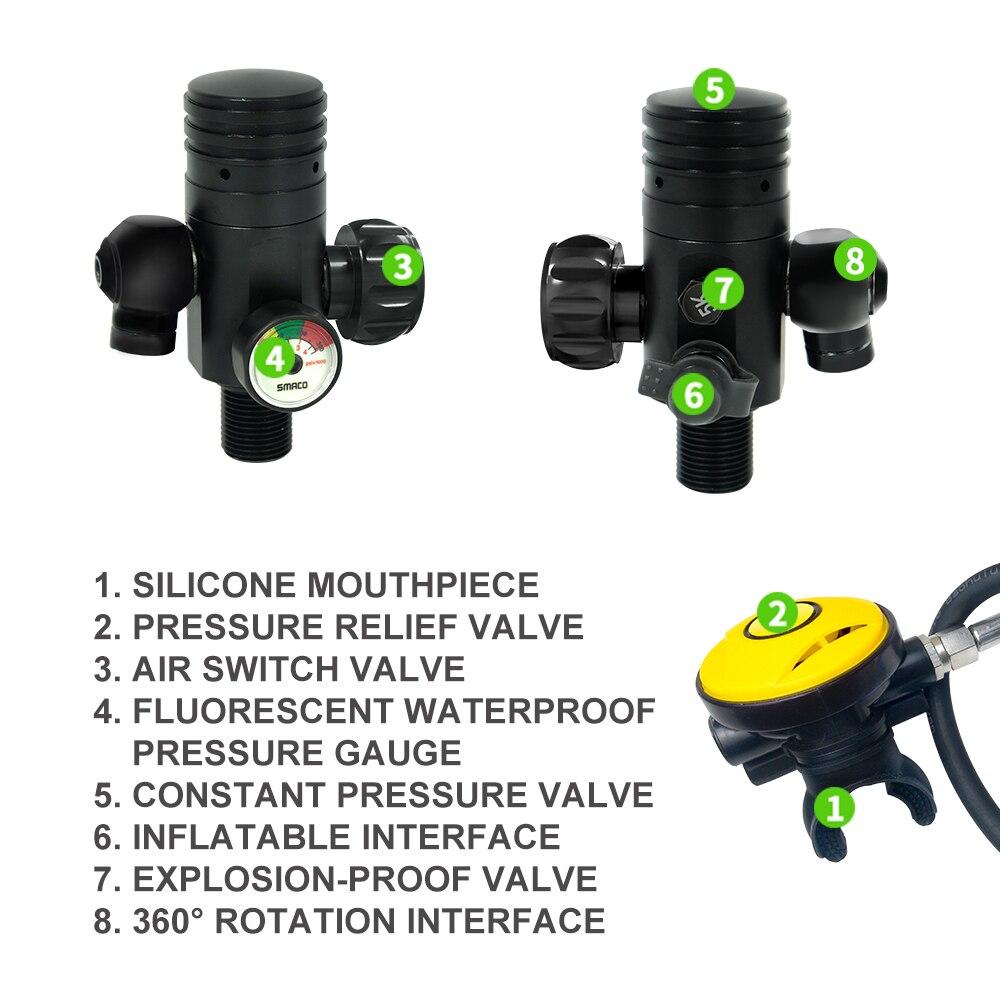 SMACO équipement de plongée Mini bouteille de plongée sous-marine réservoir d'oxygène de plongée S400 + réservoir de plongée plongée en apnée plongee buceo réservoir de plongée 1L - 4