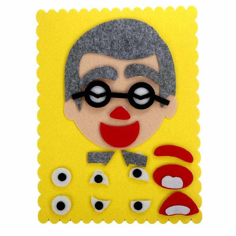 DIY Puzzle Brinquedos de Aprendizagem Educação Brinquedos Emoção Mudança 30 Montessoril CM * 30 CENTÍMETROS Criativo Expressão Facial Crianças aprendendo funnt conjunto