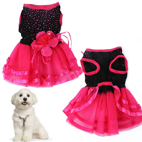 Pet <font><b>Dog</b></font> Rose Flower Gauze <font><b>Dress</b></font> Skirt Puppy Princess Clothes Apparel image
