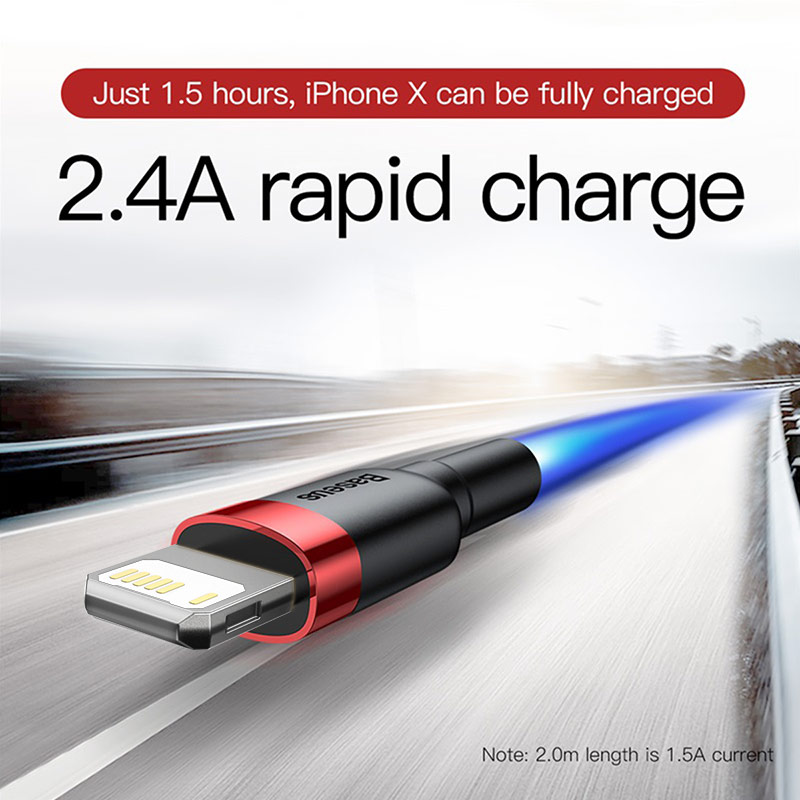 Baseus USB Cable for iPhone 12 11 Pro Max Xs X 8 Plus Cable 2.4A Fast Charging Cable for iPhone 7 SE Charger Cable USB Data Line 2