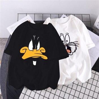 2020 yaz Harajuku çift kazak sevimli karikatür Bugs Bunny baskı bayanlar hoodie kore moda sokak kadın T-shirt