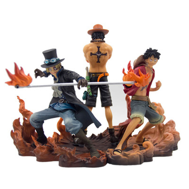 Anime ONE PIECE Luffy Portgas D Ace Sabo Three Brothers Scenes PVC Action Figure Collection Model Toy X2661