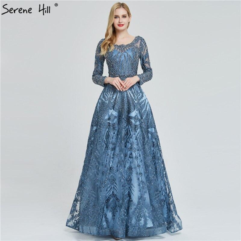 Dubaï luxe manches longues robes de soirée 2019 bleu marine col rond cristal robes de soirée conception sereine colline grande taille LA60900