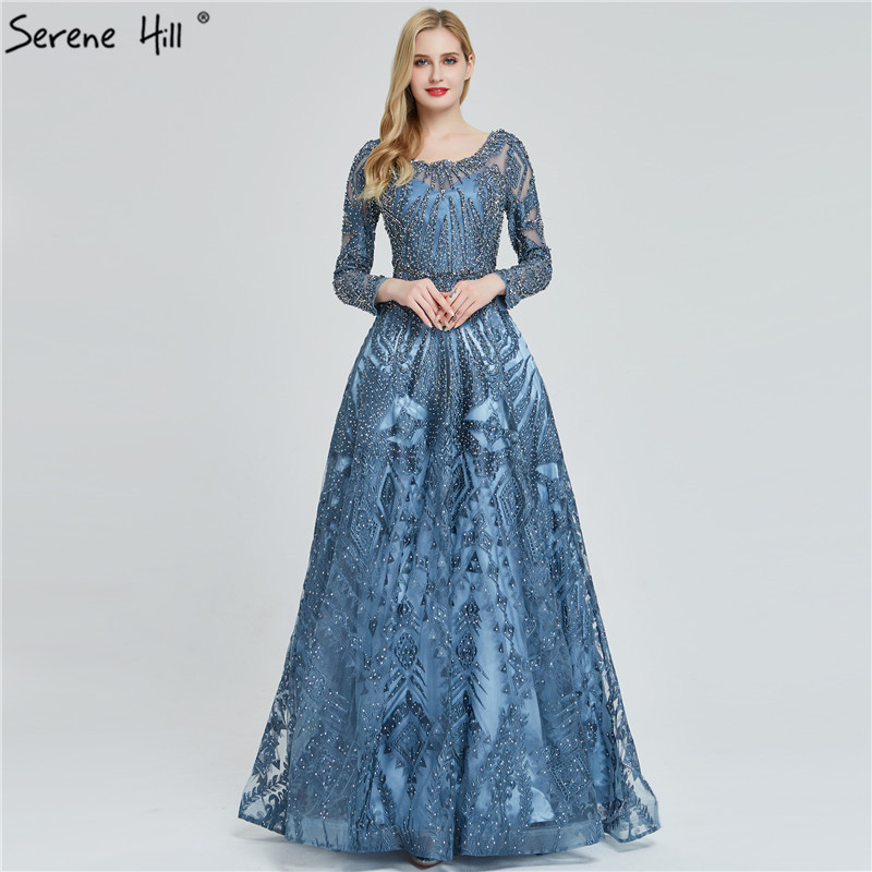 Dubai Luxury Long Sleeves Evening Dresses 2019 Navy Blue O-Neck Crystal Evening Gowns Design Serene Hill Plus Size LA60900