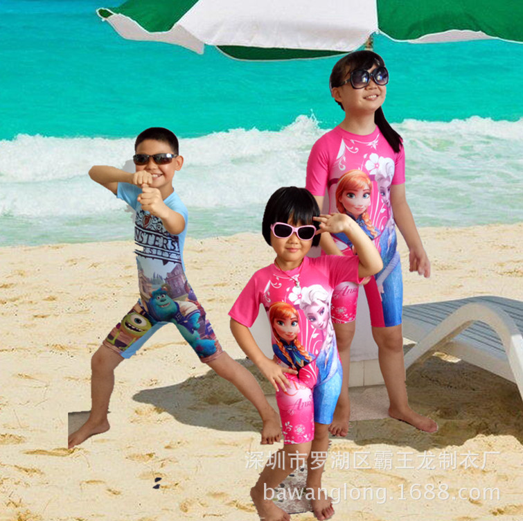 Children One-piece Short Sleeve Swimsuit GIRL'S And BOY'S Digital Printing Swimwear Beach Diving Suit