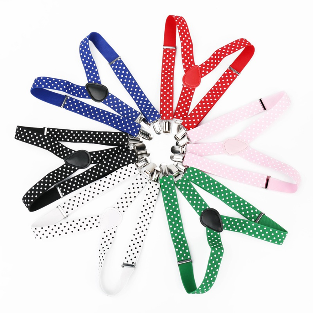 Kids Baby Polka Dot Suspenders 3 Clip Adjustable Elastic Strap Boys Girls Suspenders Braces Children Party Apparel Accessories