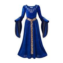 Pettigirl traje de halloween menina maxi vestido medieval azul veludo princesa vestido menina renascentista cosplay crianças vestidos para meninas