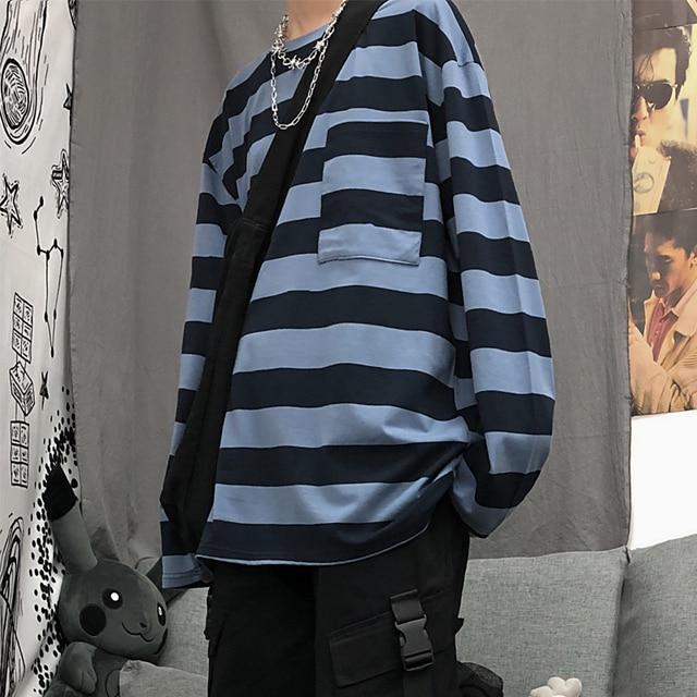 striped o neck long sleeve Neutral minimalist style t shirts harajuku  fashion brand roupas ulzzang Korean tops Women's Clothing T-Shirts  -  AliExpress