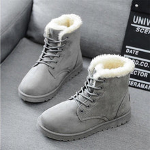 Women Boots 2019 Winter Snow Boots Female Boots Duantong Warm Lace Flat with