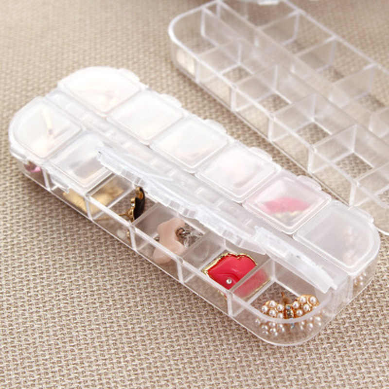 Clear Empty 12 Slots Clear Divided Storage Box Jewerly Nail Art Tips Rhinestone Small Beads Case Organizer Storage Box Container