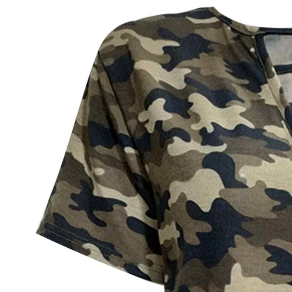 Wanita Leher V Dada Cross Perban T Shirt Kamuflase Cetak Keren Femme Kemeja Army Green Graphic T Shirt Wanita Camisetas Mujer