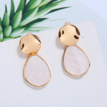 HOCOLE Fashion Gold Acrylic Drop Earrings For Women 2019 Vintage Geometric Round Heart Dangle Earring Statement Jewelry Brincos
