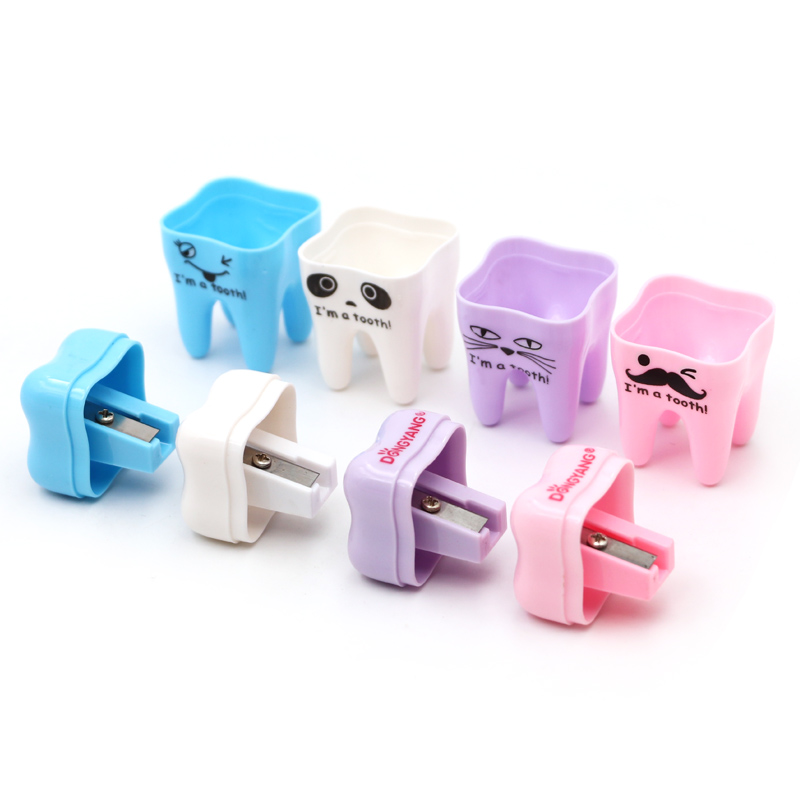 5pcs Dental Clinic Creative Gift Tooth Shape Pencil Pointer Manual Sharpener for School Supplies