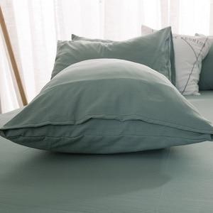 Image 4 - FAMIFUN New Product Solid Color 3/4 Pcs Bedding Set Microfiber Bedclothes Navy Blue Gray Bed Linens Duvet Cover Set Bed Sheet