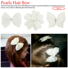 White Pearl Hair Bows With Hair Clips For Girls Kids Boutique Layers Bling Rhinestone Center Bows Hairpins Hair Accessories 2 Pc цена