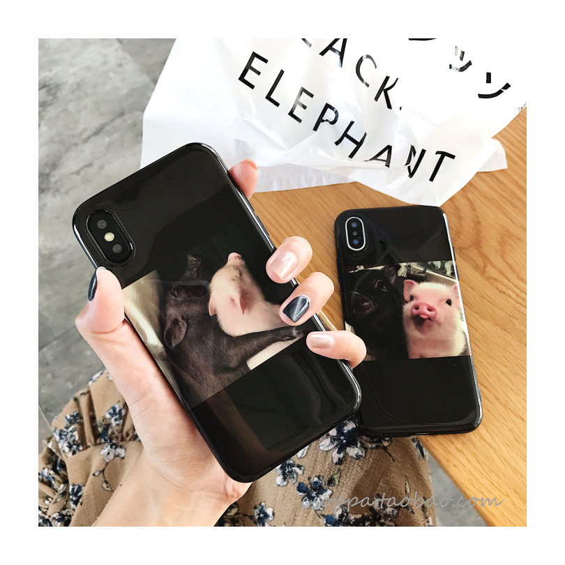 MaiYaCa Couple Funny Cartoon PiG TPU Soft Silicone black Phone Case for Apple iPhone 8 7 6 6S Plus X XS MAX XR Cover
