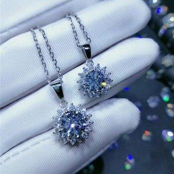 Geoki 925 Sterling Silver Lab Grown Moissanite Diamond Pendant Necklace Women Perfect Cut Treasure Snowflake Stone Necklaces