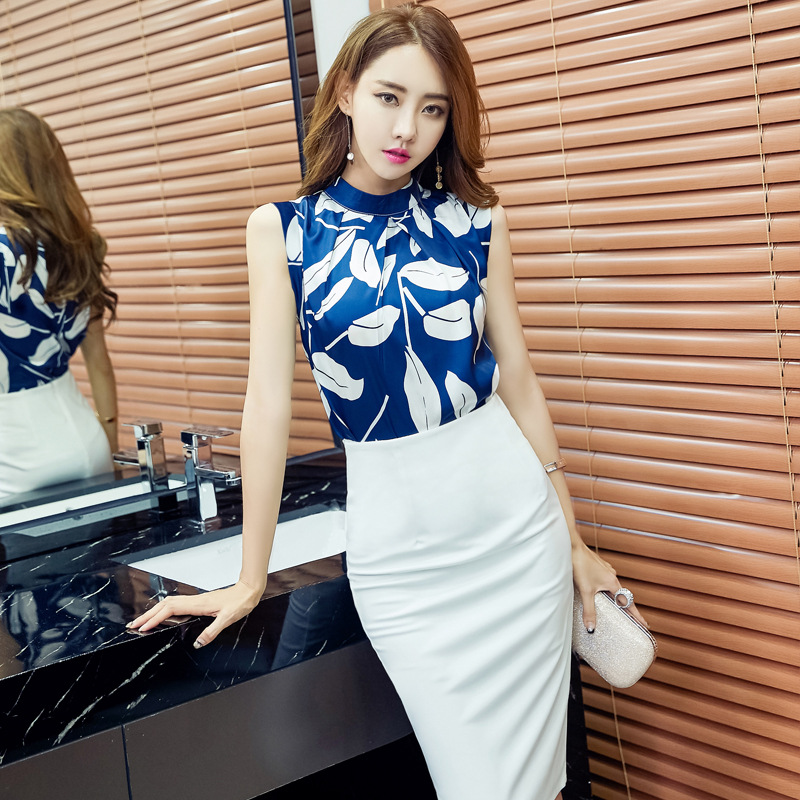 Printed Sleeveless Halter Chiffon Blouse 2019 Spring And Summer New Style Korean-style Slim Fit Tops Commuting Stand Collar 906