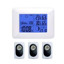 White Wireless Weather Station  Indoor Outdoor Temperature Humidity Blue Backlight Barometer Digital Alarm Clock Remote Sensor fj3365 weather station color forecast with alert temperature humidity barometer alarm moon phase digital barometer