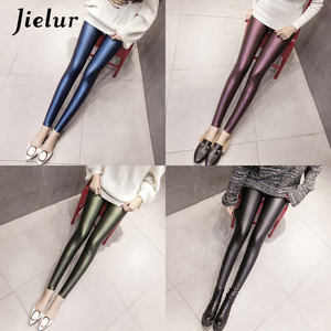 Image 5 - Jielur Autumn PU Faux Leather Leggings Women 4 Colors Skinny Pants Female Korean Ladies Fleece Pencil High Waist Legging S 3XL