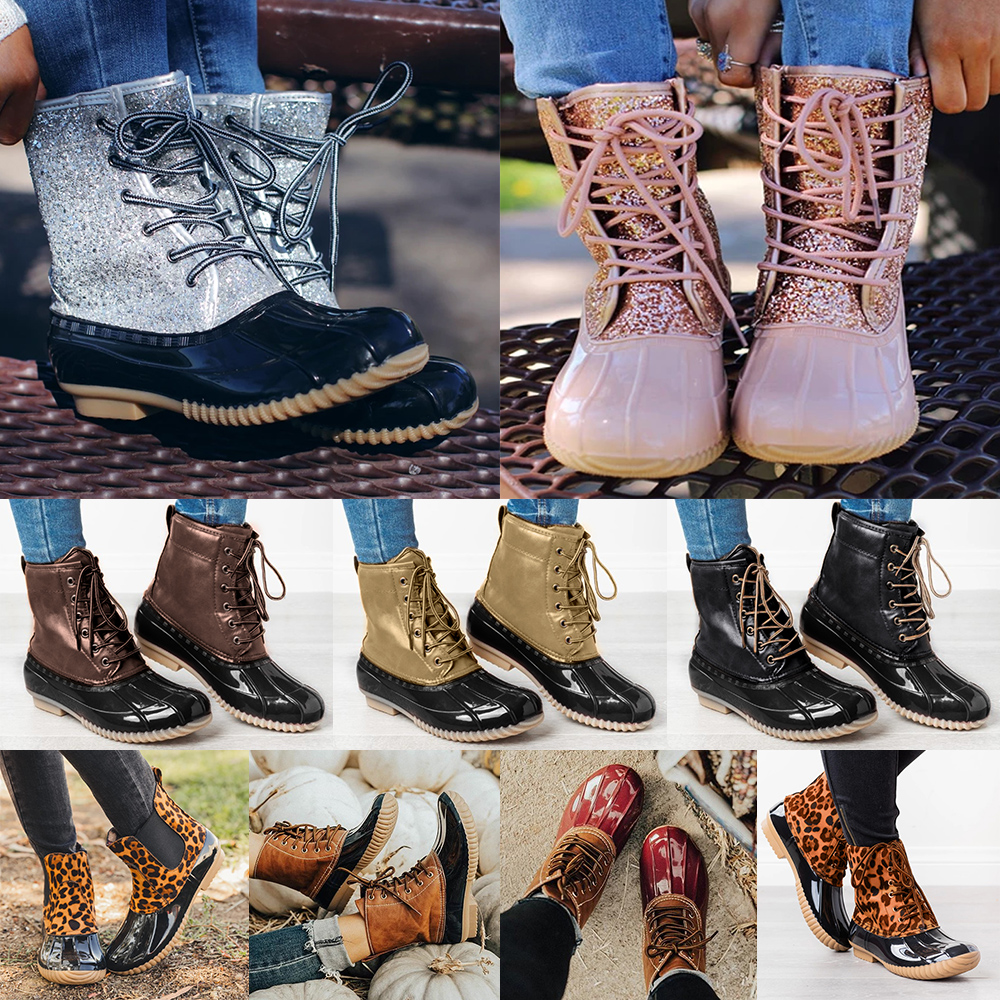 Women Boots Winter Sequined Mid Calf Fur Lined Lace Up Ladies Boots Waterproof Thick Warm Shoes Solid Female Snow Booties D40 image