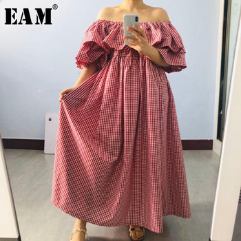 [EAM] Women Ruffles Plaid Split Big Size Dress New Slash Neck Half Sleeve Loose Fit Fashion Tide Spring Summer 2020 1T202