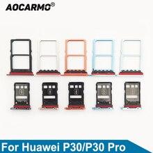 Aocarmo Orange/Black/Light Blue/Dark Blue/Silver/Purple SD MicroSD Holder Nano Sim Card Tray Slot For Huawei P30/P30 Pro