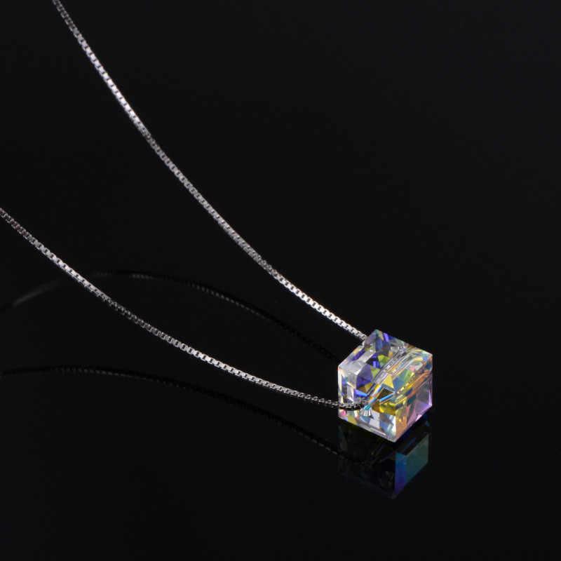 Yeni 925 ayar gümüş kolye basit kare kristal klavikula zinciri kore kolye kolye kadınlar için eğilim takı parti