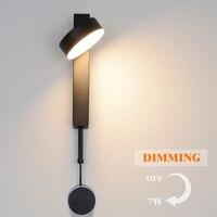 Led lâmpada de parede com interruptor pode ser escurecido lâmpadas parede moderna nordic ângulo ajustável quarto cabeceira lâmpada leitura luz|Luminárias de parede| |  -