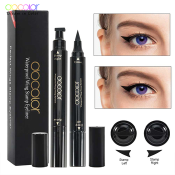 Docolor 2Pcs Doppio-Headed Eyeliner Liquido Nero Triangolo di Tenuta Eyeliner 2-in-1 Penna Eyeliner Waterproof eyeliner Timbro 1