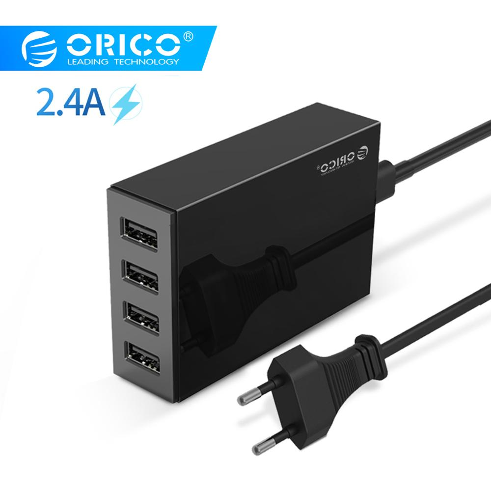 ORICO Bordladeradapter USB 4-port 5V2.4A hurtiglader EU-plugg for Xiaomi Samsung Huawei