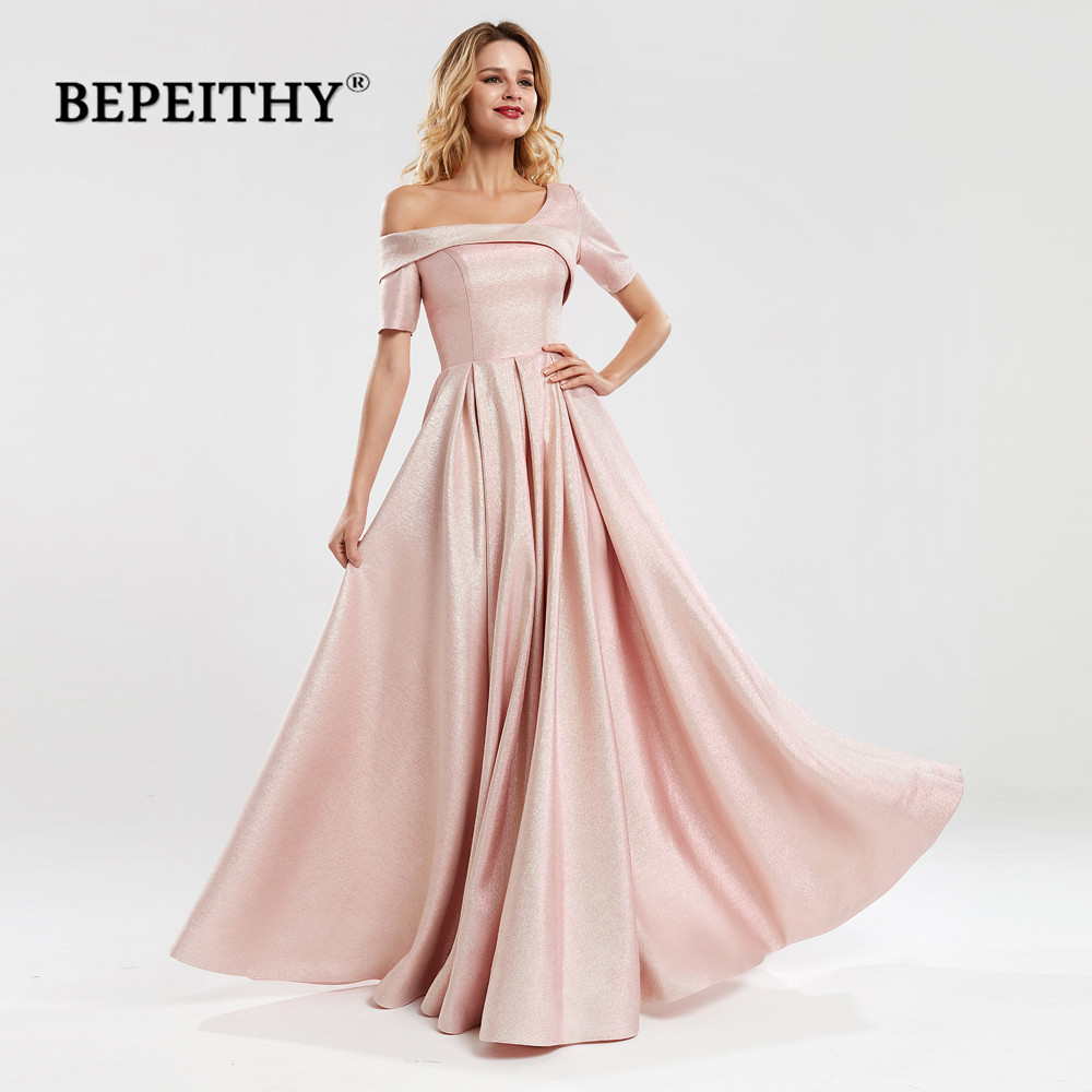 BEPEITHY Robe De Soiree One Shoulder Short Sleeves Long Evening Dresses 2020 платье вечернее Pink Glitter Prom Party Dress