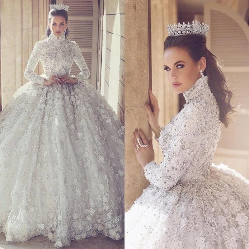 Luxury Ball Gown Muslim Dubai Wedding Dresses Long Sleeves V Neck Beading Dress