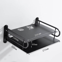 Enrutador Wifi inalámbrico de Metal negro, caja de almacenamiento de teléfono, estante de montaje en pared, soporte de TV, soporte estante de Metal
