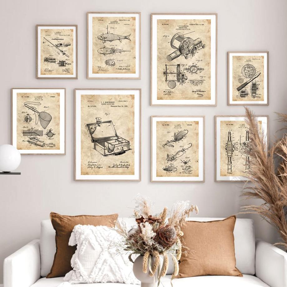 Cartel Vintage nórdico patente de pesca dibujo para pared lienzo de impresión artística pintura regalo para padres imágenes de pared para decoración para sala de estar