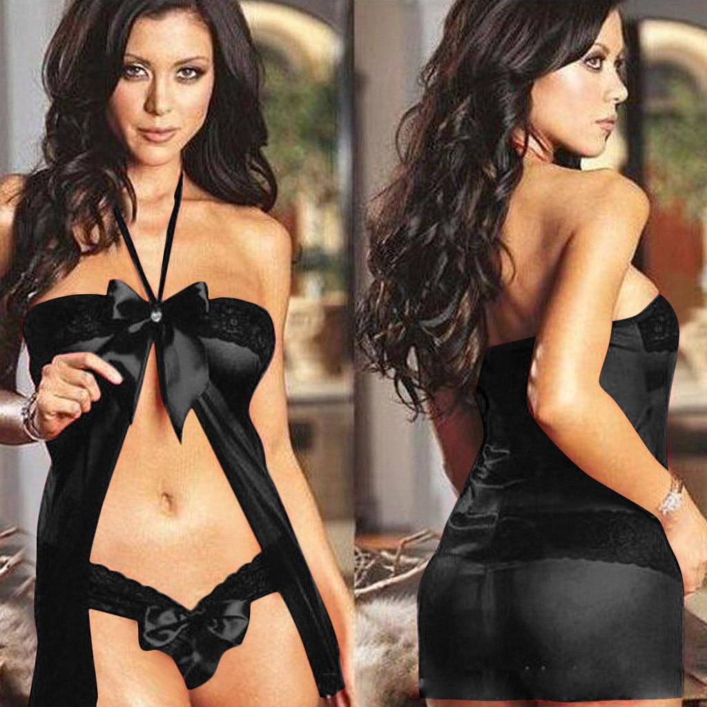 Sexy Lingerie Women Lace Babydoll Chemise Porno Sex Underwear Dress Transparent Bowtie Halter Erotic Lingerie Sexy Costumes
