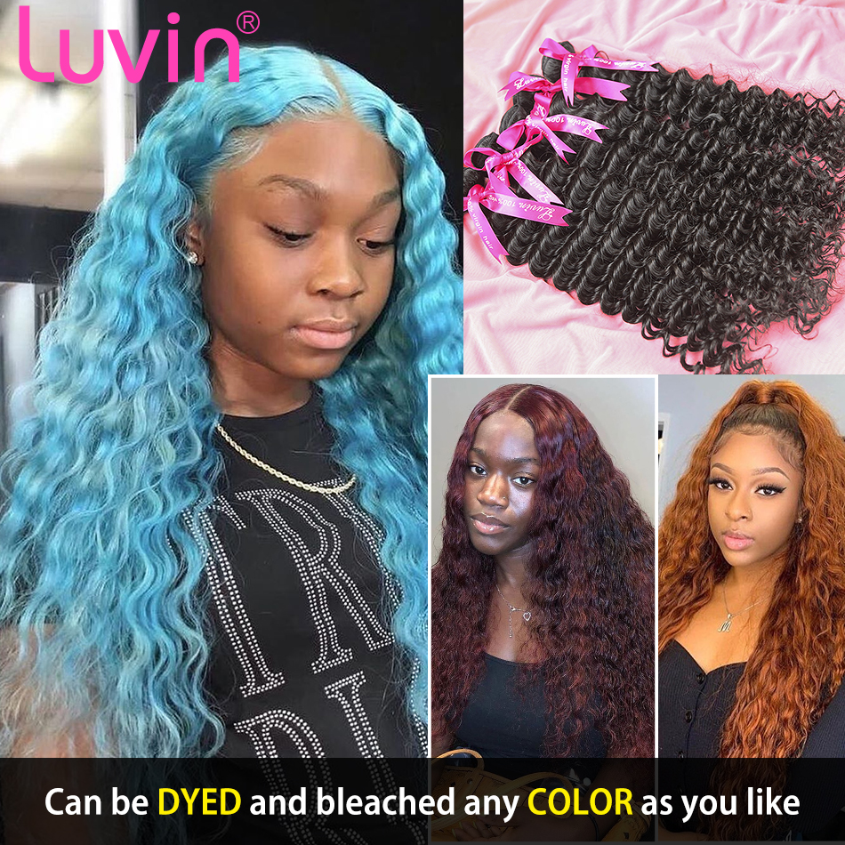 <font><b>Luvin</b></font> <font><b>Deep</b></font> <font><b>Wave</b></font> 8- 30 Inch Malaysian Virgin Hair Natural Color 100% Human Hair Weave Bundles Unprocessed Curly Hair Weft image