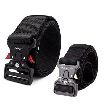 Military Tactical Belt Men's Heavy Duty Army Training Security Waist Strap Automatic Metal Buckle Nylon Belts 3.8CM 5.0CM Width