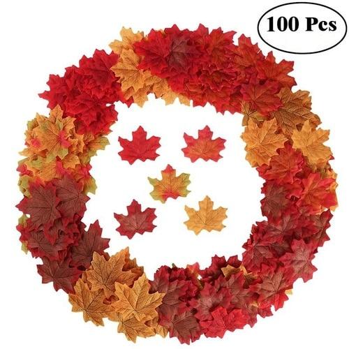 Искусственные кленовые листья 100 шт., Декоративные Шелковые кленовые листья, искусственные осенние листья для украшения дома, свадьбы, вече...