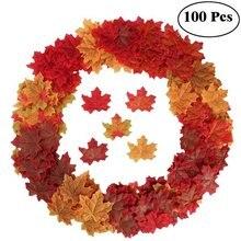 100 Pcs Künstliche Ahorn Blätter Simulation Dekorative Seide Ahorn Blätter Gefälschte Herbst Blätter Für Home Hochzeit Party Decor