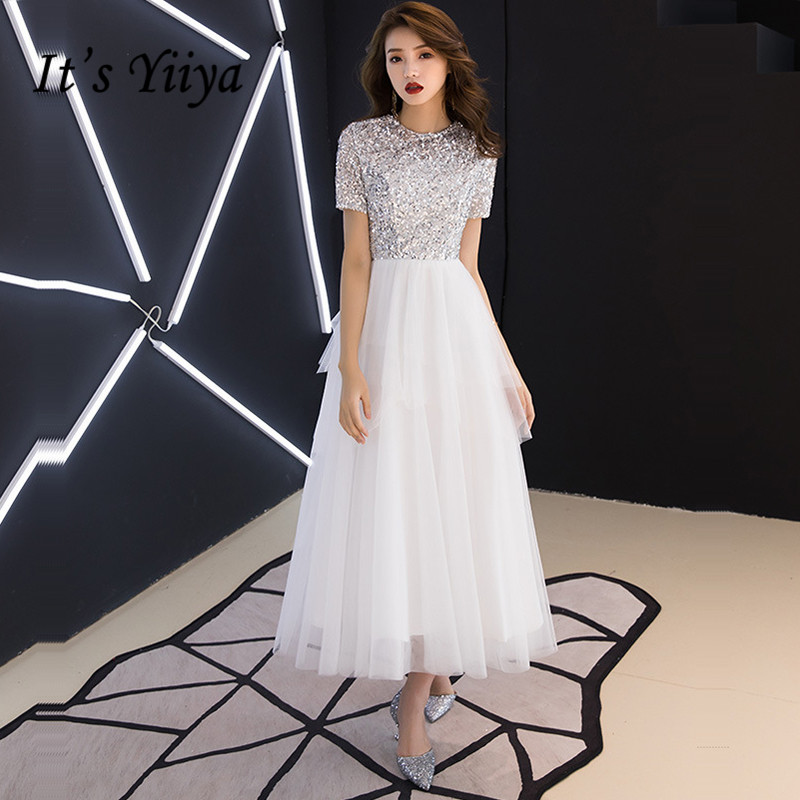 It's Yiiya Crepe Prom Dress Patchwork Sequined O-Neck Prom Dresses Plus Size Short Sleeve A-Line Zipper Vestidos De Gala K387