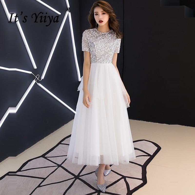 It's Yiiya Crepe Prom Dress Patchwork Sequined O-Neck Prom Dresses Plus Size Short Sleeve A-Line Zipper Vestidos De Gala K387