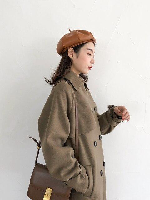 2020 new women's winter coat woolen coat slim-fit belt elegant and soft women's long coat coat windproof 2